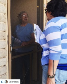 Talking to constituents at the door